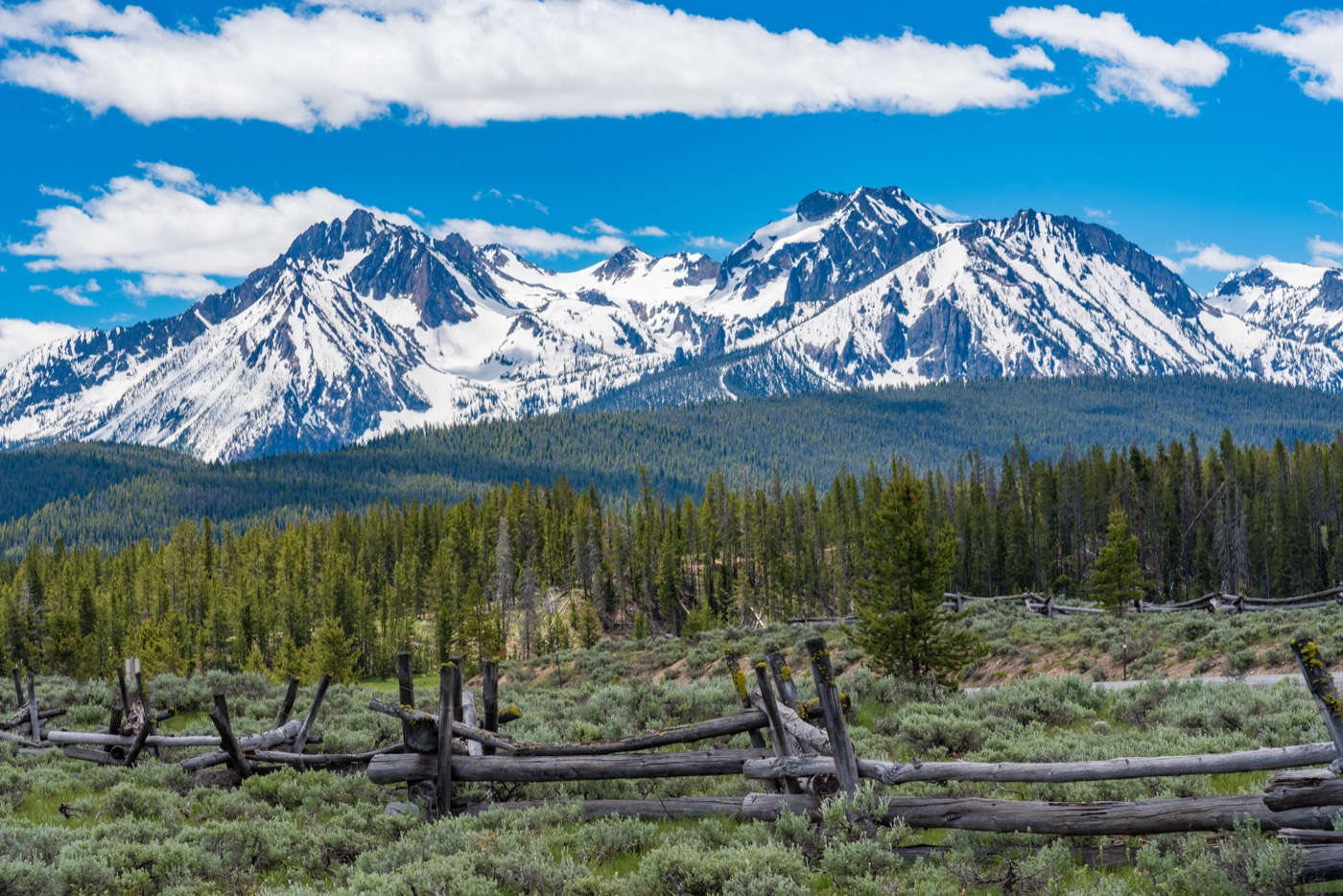 Snow-capped mountain along Sawtooth Scenic Byway